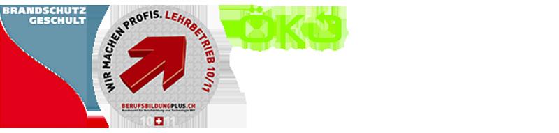 Brandschutz-Logo, Berufsbildungs-Logo, Öko-Stahl-Logo
